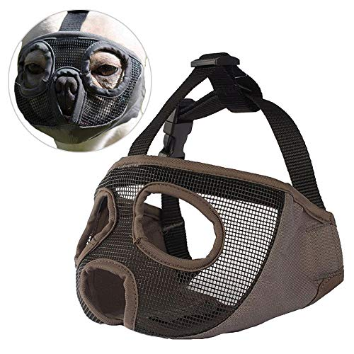 Short Snout Dog Muzzle Adjustable Breathable Mesh Bulldog Muzzle for Biting Chewing Barking Training Dog Mask (S, Grey) ()