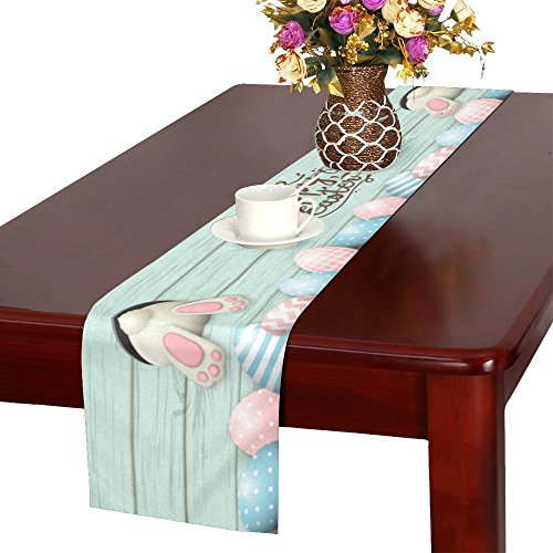 InterestPrint Happy Easter Cute Bunny and Easter Eggs Wooden Table Runner Cotton Linen Cloth Placemat for Office Kitchen Dining Wedding Party Banquet 16 x 72 Inches