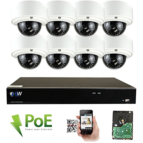 GW Security 8CH 4K NVR Network 5MP IP Security Camera System - 8 x HD 1920P 5.0 Megapixel 2.8~12mm Varifocal Zoom PoE IP Dome Camera + 3TB Hard Drive - Support ONVIF QR Code Remote Access