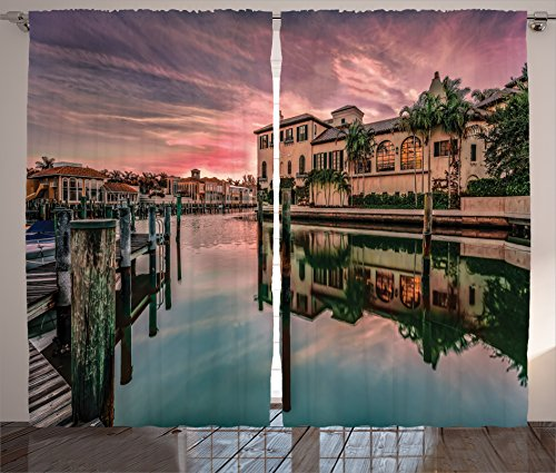 Ambesonne Wanderlust Decor Curtains, Colorful Sunrise Over Venetian Bay at Naples Florida Apartments Trees Waterscape, Living Room Bedroom Decor, 2 Panel Set, 108 W X 84 L Inches, Purple Green