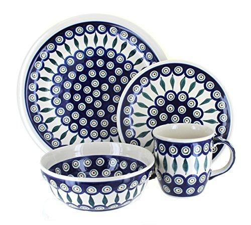 Polish Pottery Peacock 16 Piece Dinner Set by Zaklady