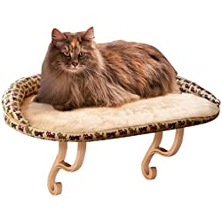 """K&H PET PRODUCTS Kitty Sill Deluxe with Removable Bolster, Estampado de Kitty, marrón Tostado (Tan Print), 24"""" L x 14"""" W x 9"""" H"""