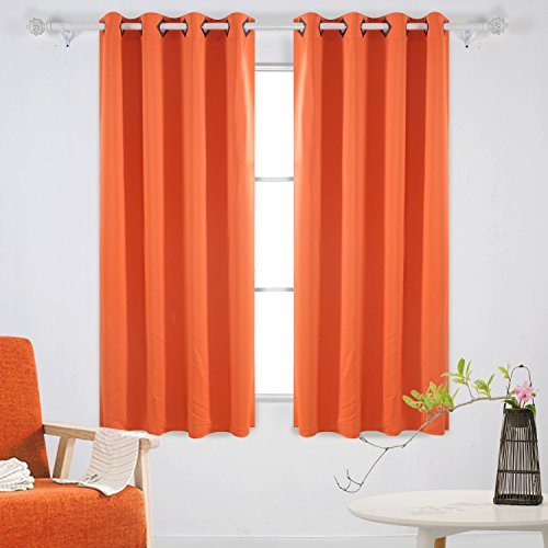Deconovo Solid Blackout Curtains With Grommet Thermal Inshualted Window Room Darkening For Dining 52W X 63L Inch Orange 2 Panels