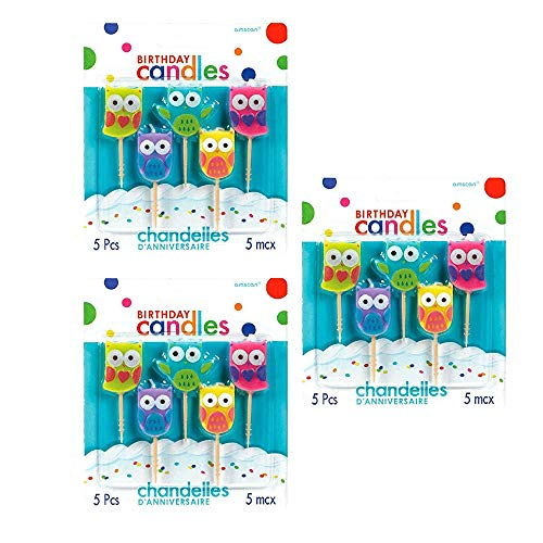 Party Time Molded Owls Birthday Toothpick Candles (Value 3-Pack; 15 candles)