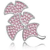 Rarelove Jewelry Crystal Ginkgo Leaf Light Rose Brooch