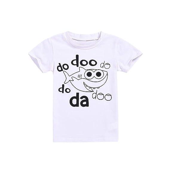 cbf3153691939 Amazon.com  ❤ Mealeaf ❤ Children s Kids Baby Short Sleeve Cartoon Letter  Shark Print Tops T-Shirt 6 Months-4 Years  Clothing