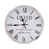 European Home Non Ticking Vintage Retro Decorative Wooden Wall Clock Grand Hotel
