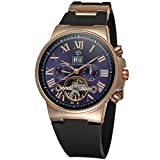 Forsining Retro Royal Watch Auto Movement Men's Mechanical Watch with Black Plastic Band