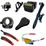 MIAO Bicycle Accessories Eight Sets, Including The Compass Bell, PC Pot Holder, Luggage Package, Password Anti-Theft Locks, Cushion Sets, Portable Pump, Fender, Explosion-Proof Glasses