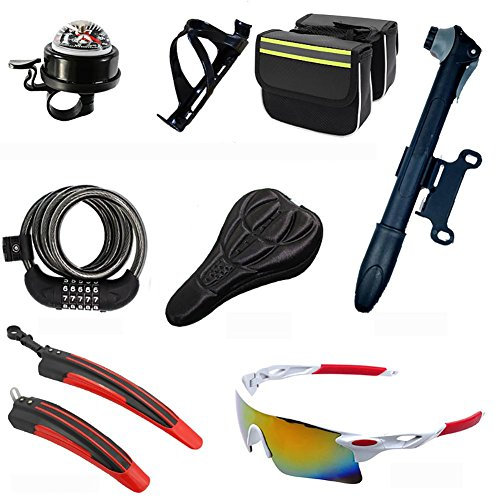 MIAO Bicycle Accessories Eight Sets, Including The Compass Bell, PC Pot Holder, Luggage Package, Password Anti-Theft Locks, Cushion Sets, Portable Pump, Fender, Explosion-Proof Glasses by miaomiao