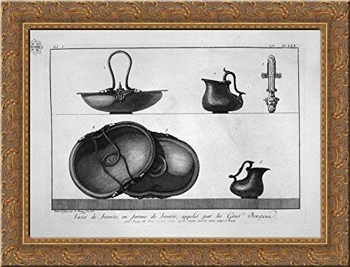 Piranesi Vase - Bronze vases shaped bag (Arytena), found in Pompeii 24x20 Gold Ornate Wood Framed Canvas Art by Piranesi, Giovanni Battista