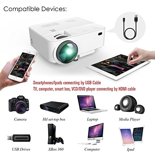 DBPOWER T21 Upgraded LED Projector,1800 Lumens Multimedia Home Theater Video Projector Supporting 1080P, HDMI, USB, SD Card, VGA, AV for Home Cinema, TV, Laptops, Games, Smartphones & iPad by DBPOWER (Image #4)'