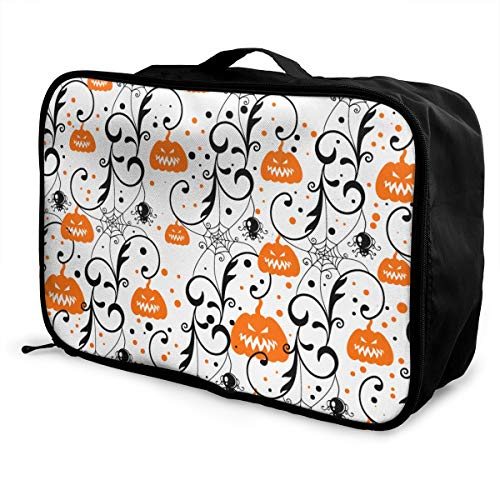 Party Camping Travel Duffle Bag Weekender Bag In Trolley Handle, Nylon Lightweight Tote Luggage Bag Water Resistant Toiletry Bag, Happy Halloween Party Pumpkin Overnight -