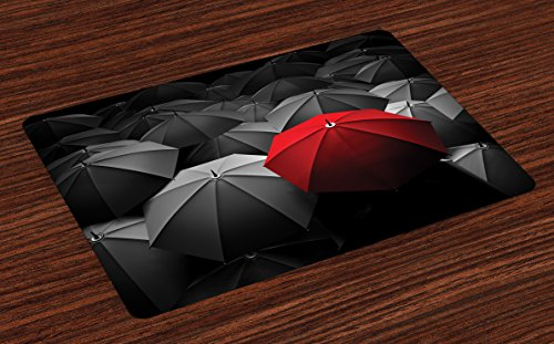 Lunarable Red and Black Place Mats Set of