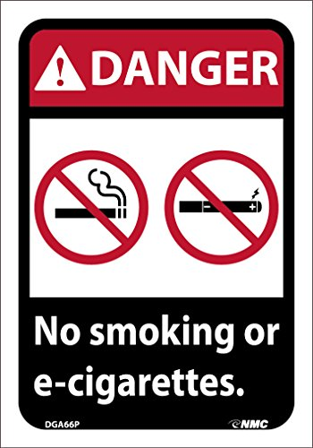 DGA66P National Marker Danger Caution Sign, No Smoking or E-Cigarettes, 10 Inches x 7 Inches, Pressure Sensitive Vinyl