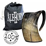 AleHorn – The Original Handcrafted Authentic Viking Drinking Horn 16oz Tankard for Beer, Mead, Ale – Medieval Inspired Stein Mug – Food Safe Vessel With Handle …