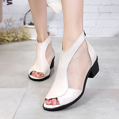 HGTYU Sommer Frauen Schuhe Sandalen Und Wie Der Fisch Mund Damenschuhe. Schuhe Römische Schuhe Zum Garn Ausgesetzt Coole Schuhe Damenschuhe. Mund M Weiß 8e12a2
