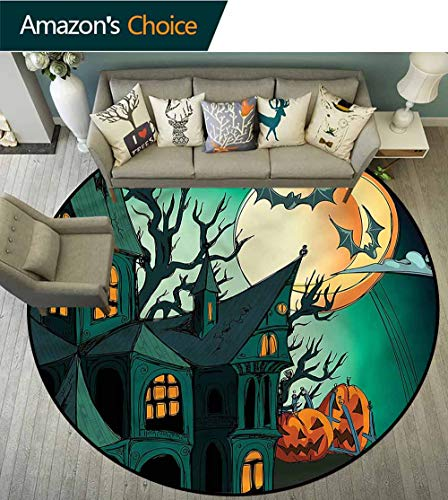 RUGSMAT Halloween Super Soft Circle Rugs for Girls,Halloween Haunted Castle Home Decor Area Rug Diameter-55 ()