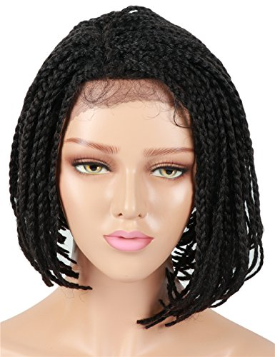 Search : Fani Braided Wigs 14Inch Lace Front Wig For Black Women Side Full Synthetic Wig Heat Resistant Fiber Women Wig African American Box Braids Wigs Black Color