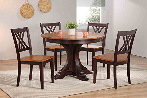 "Iconic Furniture 5 Piece Deco Double X-Back Dining Set, Whiskey mocha, 45"" x 45"" x 63"""