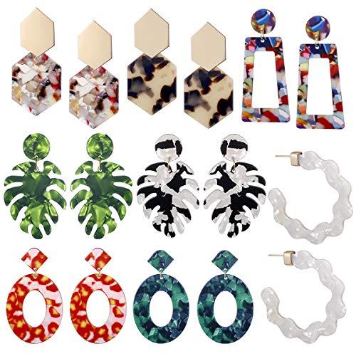 Leaf Green Music Box - AIDSOTOU 8 Pairs Acrylic Earrings for Women Girls Tortoise Resin Drop Dangle Earrings Fashion Jewelry Hoop Earrings Set (color3)