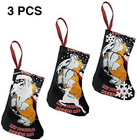 クリスマスの日の靴下 (ソックス3個)クリスマスデコレーションソックス Corgi I MUST GO クリスマス、ハロウィン 家庭用、ショッピングモール用、お祝いの雰囲気を加える 人気を高める、販売、プロモーション、年次式