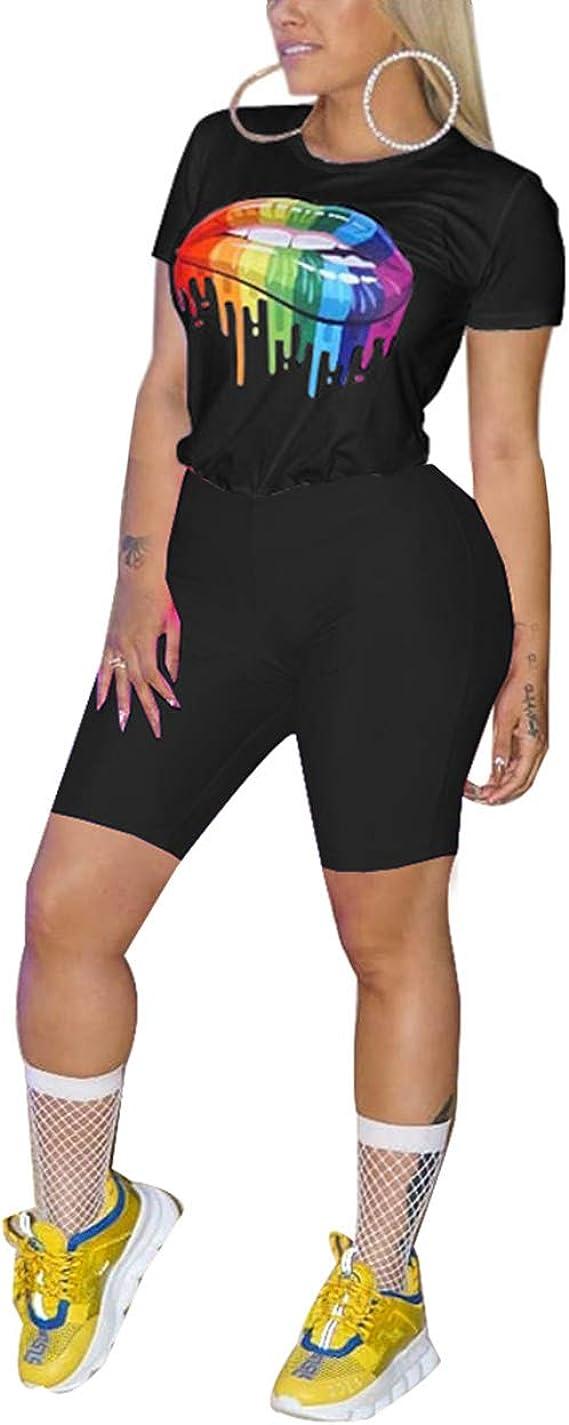 Women Fashion Short Sleeve Lip Patchwork Short T-shirt Clubwear Casual Tops