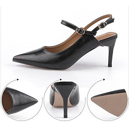 Pumps Heel On Heel Stilettos Pumps Black Schwarz 2 UK Pumps 34 Kleid 7 High Frauen EU Court High Schuhe Spitzschuh Slip qpAxwCz
