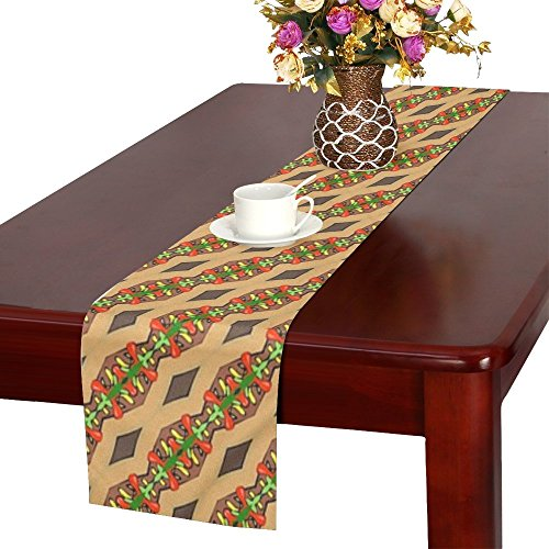 (QYUESHANG Seamless Tileable Pattern Design Decoration Table Runner, Kitchen Dining Table Runner 16 X 72 Inch For Dinner Parties, Events, Decor)