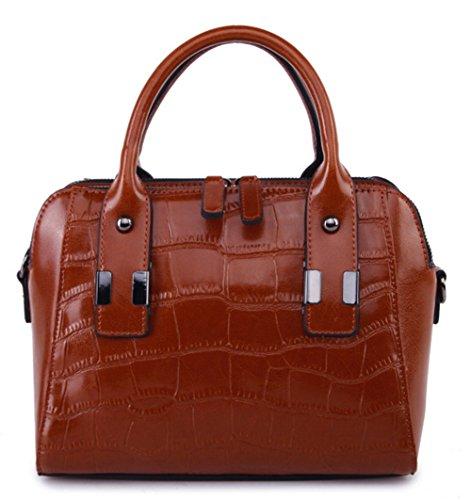 Bolsos de señora Xinmaoyuan Cowhide señoras hombro cruz diagonal Bolso Casual bolsos de cuero Brown