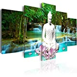 murando - Image 200x100 cm - Image Printed on Canvas - Wall Art Print Picture - Photo - 5 Pieces - Nature Landscape Buddha Waterfall Tree Forest h-C-0048-b-n