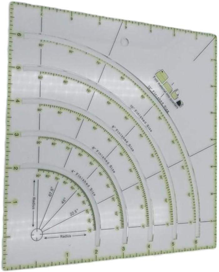 Arcs /& Fans R/ègle de coupe de cercle de couette R/ègle de patchwork de coupe /à larc multifonctionnelle r/ègle de quilters en acrylique avec des lignes doubles color/ées pour la coupe de mod/èle de r/ègle