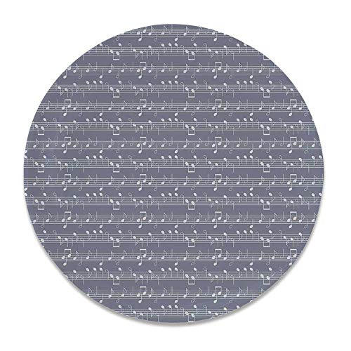 (YOLIYANA Grey Decor Ceramic Decorative Plate,Piano Music Clay Motif with Various Notes Symbols Beat Melody Rhythm Harmony Jazz for Home Décor,6 inch)