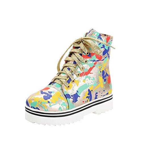 Lace Gold Sneakers Fashion Popular Wedge Fashion Camouflage Up Print Heel Carolbar Hidden Womens Platform HcqOw5w6