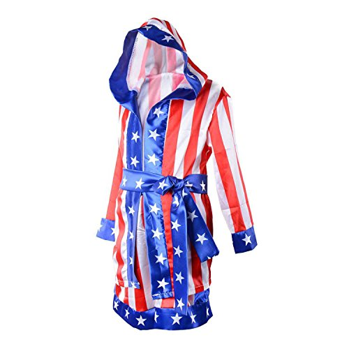 Child Boxing Costume Rocky Balboa American Flag Robe Kids Halloween Party Cosplay Loungewear with Shorts Belt Set (Red Apollo American, S)