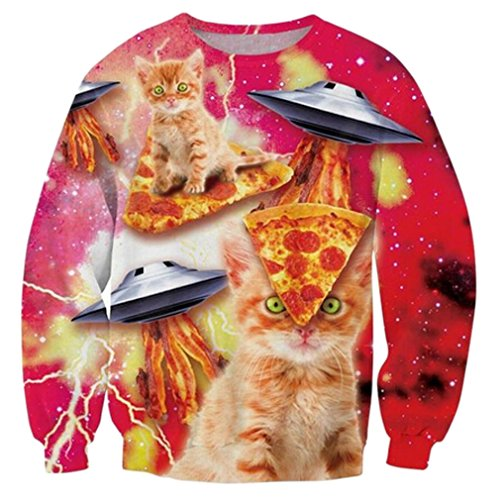 RAISEVERN Teen Girls Funny Cat Sweatshirts Winter Stylish Sweater Sweatshirts