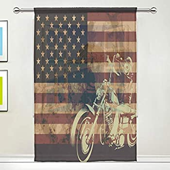 Dragon Sword Old American Flag with Motorcycle Skull Sheer Window Curtain Voile Drape for Kitchen, Living Room or Kids Bedroom 55