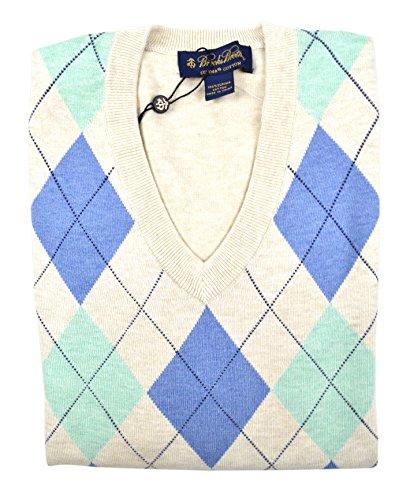 (Brooks Brothers Men's Argyle Knit Supima Cotton Ribbed V-Neck Sweater Beige Medium)