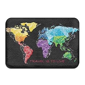 7-- Peng siyao interior y exterior para viajar es Vivir mapa del mundo geographydoormatsmonogram Felpudo