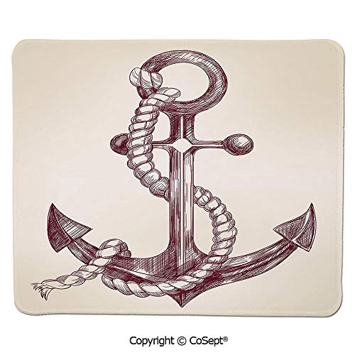 Mouse Pad,Realistic Hand Drawn Sketch Marine Vintage Design Sails Yacht Boat Cruise Decorative,Water-Resistant,Non-Slip Base,Ideal for Gaming (7.87