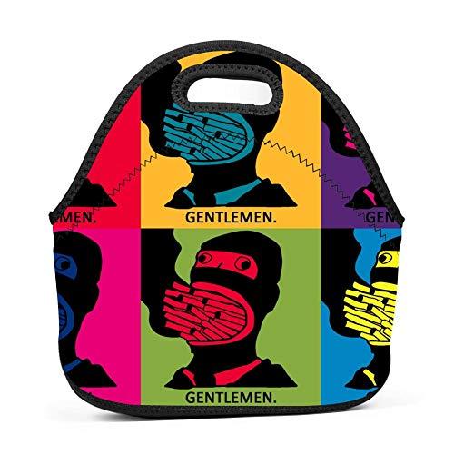 OUBAFun Neoprene Lunch Bag Gentlemen Pop Art Tote Handbag Lunchbox For School Work - Art Wfl