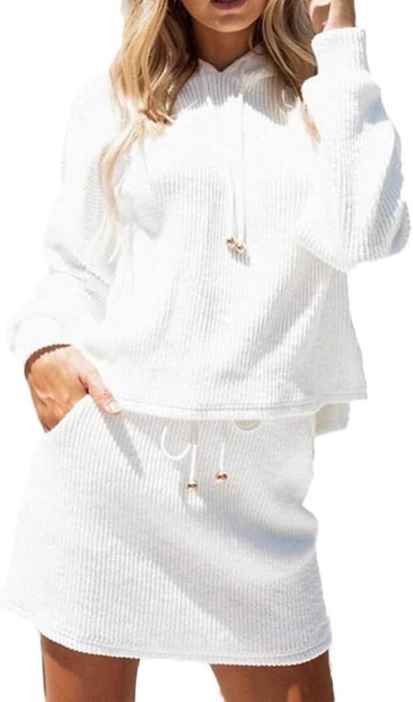 LANSKIRT Conjunto de 2 Piezas Sudadera Mujer Blanco con Capucha ...
