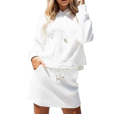 beautyjourney Sudadera con Capucha Blanca de Manga Larga para Mujer Abrigos Mujer Invierno + Falda Corta Set de Dos Piezas: Amazon.es: Ropa y accesorios