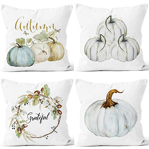 Happy Halloween Pumpkins White (LafyKoly Happy Halloween Pumpkin Decoration Cotton Blend Cushion Cover Set of 4 Fall Decor Thanksgiving Throw Pillow Covers 18x18 inch)