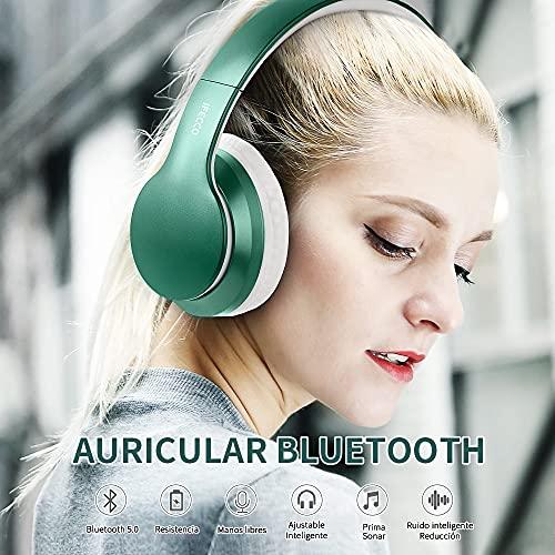 Ifecco Bluetooth Estéreo Auriculares Música sobre-oído Sonido de Alta fidelidad, Bluetooth Banda para la Cabeza Plegable con micrófono y Cable de Audio para Apple iPhone, PC (Jade Verde)
