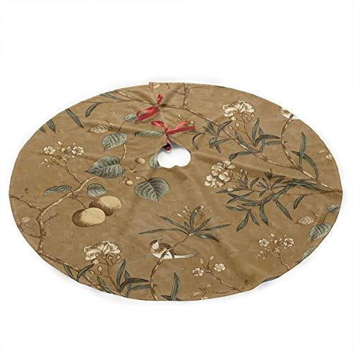 Grtswp Luxury Soft Snow Christmas Tree Skirt Bird Wallpaper Holiday Print Tree Skirt Holiday Ornament(Diameter :90 Cm/35.5 -