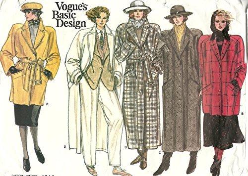 Vogue 1614 Misses Basic Design Coat Jacket Sewing Pattern Misses Size 12-14-16 (Bust 34 - 38) Vintage 1985