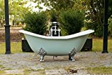 Green Blue 6' Antique Inspired Cast Iron Double Slipper Clawfoot Bathtub Package Original Porcelain Chrome Accents