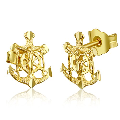 Wellingsale Ladies 14k Yellow Gold Polished Anchor Crucifix Stud Earrings (8 X ()