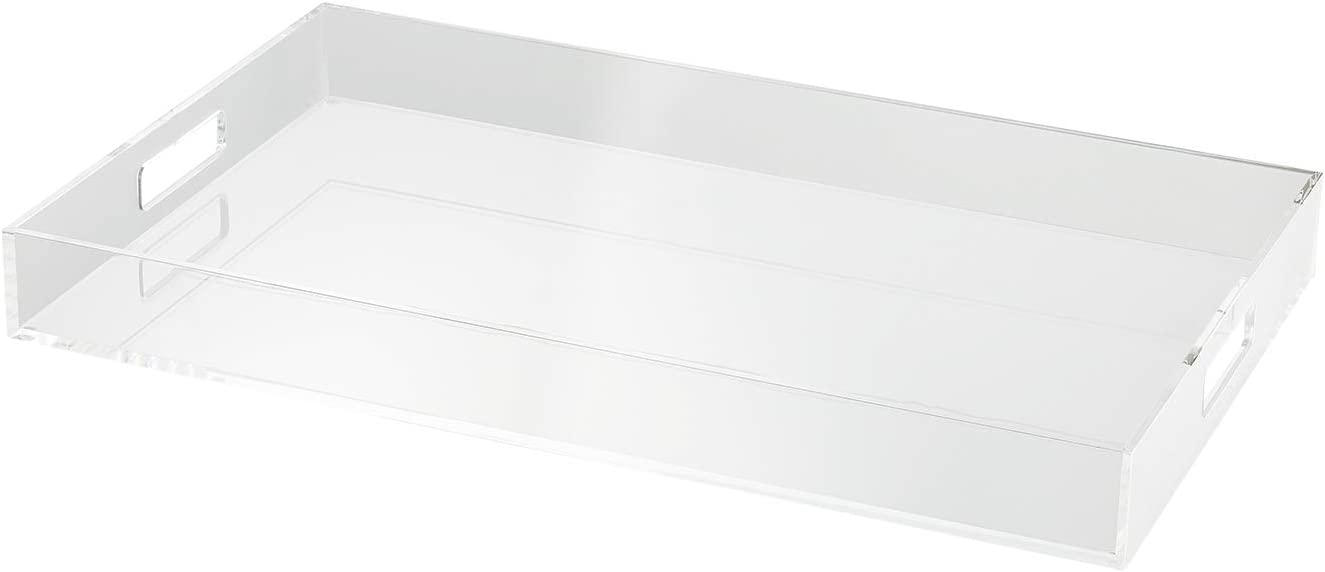 LIKENOW Furniture Clear Plastic Serving Tray /Modern Acrylic Tray for Breakfast, Tea, Food - Spill Proof - Decorative Display, Kitchen, Vanity Serve Tray & Handles,19.7x 11.8 inch, 2 inch High,2.95lbs